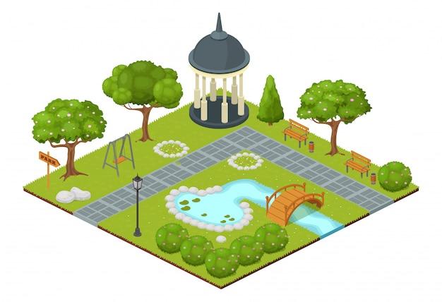 Изометрические парк иллюстрация. мультфильм 3d город природа карта пейзаж на белом, зеленый сад деревьев и травы, открытый бассейн с фонтаном с небольшим мостом, парковая беседка и скамейки