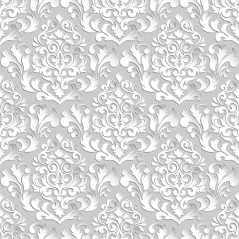 ダマスク織のシームレスなパターンのベクトルの背景。壁紙、背景、ページ入力用のエレガントで豪華なテクスチャ。影とハイライト付きの3d要素。ペーパーカット。