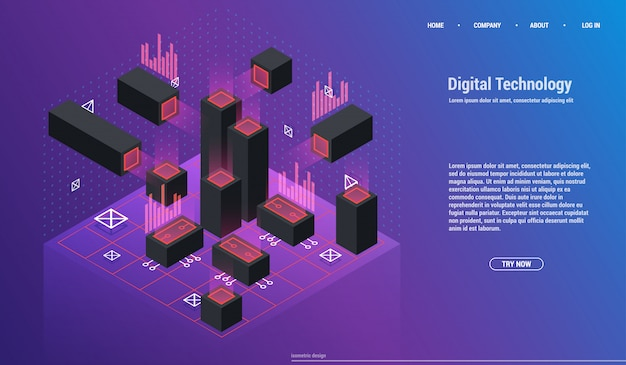 分析と投資。データ視覚化の概念。 3dアイソメトリック