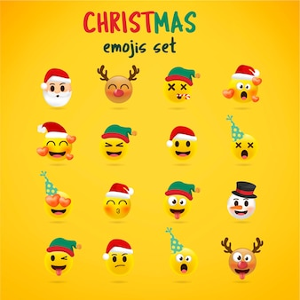 Рождественский смайлик установлен. праздничный набор рождественских символов лица с различными эмоциями. 3d стиль