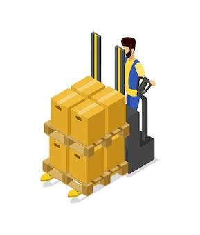 Вилочные погрузчики тележка загрузочные коробки изометрическая 3d иллюстрации
