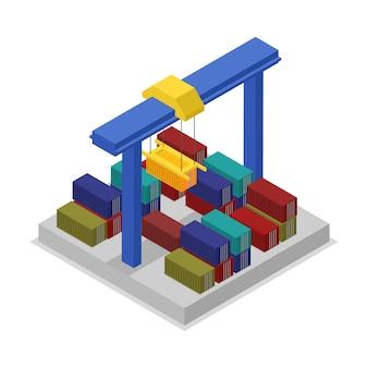 Глобальная иллюстрация доставки с краном изометрической 3d иллюстрации
