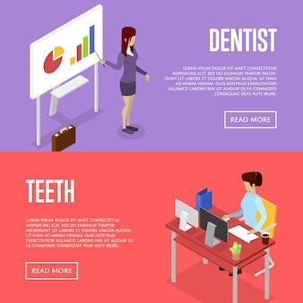 Корпоративный офис жизнь изометрическая 3d баннер веб