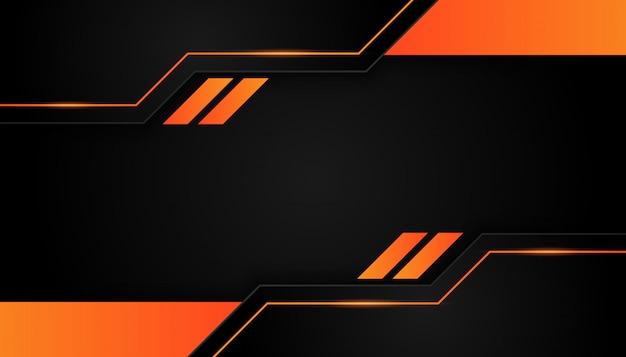 Современная 3d геометрия формирует черные линии с оранжевыми рамками на темном фоне