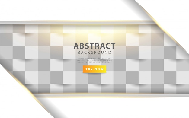 Белая абстрактная текстура. векторный фон 3d бумага в стиле арт с золотой линией