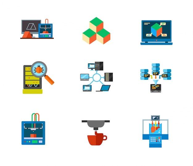 3d印刷とデータセンターのアイコンセット