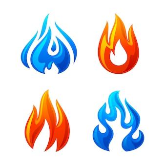 Огонь пламя 3d набор иконок на белом фоне