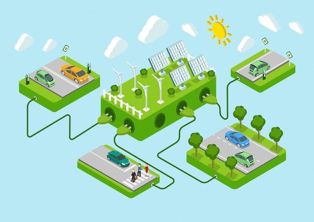 Электромобили плоские 3d веб изометрической альтернативы эко зеленый энергии образ жизни инфографики концепция вектор дорожные платформы, солнечная батарея, ветрогенератор, шнуры питания. экология энергопотребления.
