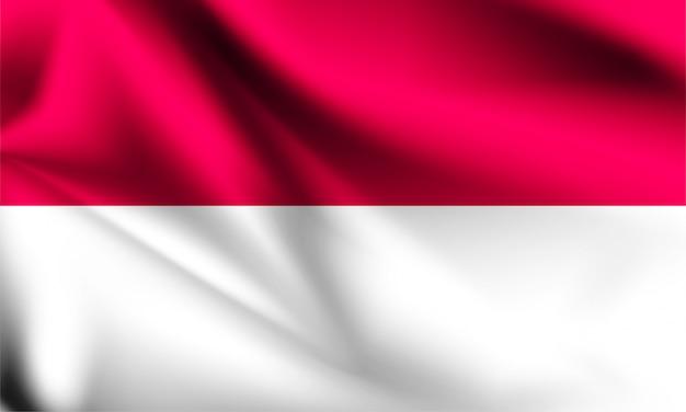 Индонезия флаг развевается с ветром, 3d иллюстрации