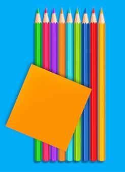 Снова в школу цветные карандаши реалистичные. детальная иллюстрация 3d
