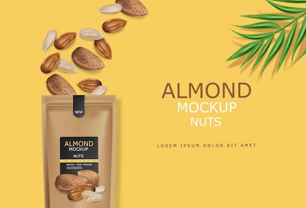 Миндальные орехи реалистичные макет. сырье веганский вкусная закуска. 3d подробный дизайн упаковки продуктов