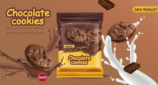 現実的なチョコレートクッキーのモックアップ。チョコレートと牛乳のスプラッシュで落ちるデザートクッキー。 3d詳細製品パッケージ