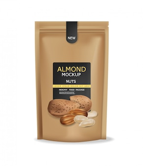 アーモンドナッツは、現実的なモックアップを分離しました。生ビーガンおいしいスナック。 3d詳細設計製品パッケージ