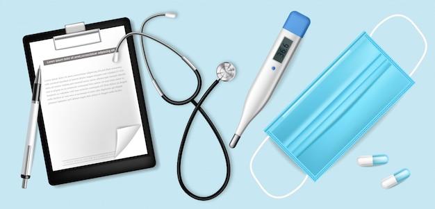 Медицинское оборудование реалистично. защитная маска. тест, хирургическая маска и термометр 3d иллюстрации