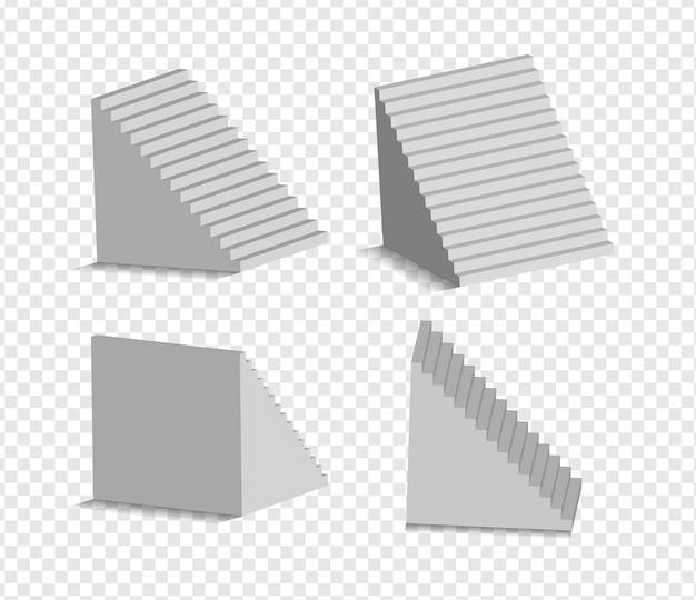 Набор 3d белые лестницы изолированы. архитектурные белые лестницы, коллекция ступеней для иллюстрации интерьера