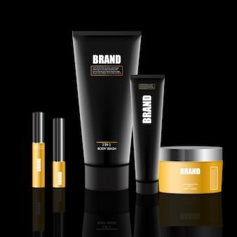 化粧品セット、クリームジャー、チューブ、スプレー付きプラスチック容器ボトル。化粧品パッケージのリアルな3dモックアップ。