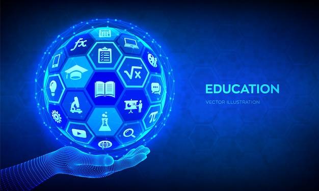 Электронное обучение. инновационная концепция технологии онлайн образования. абстрактная 3d сфера с поверхностью шестиугольников