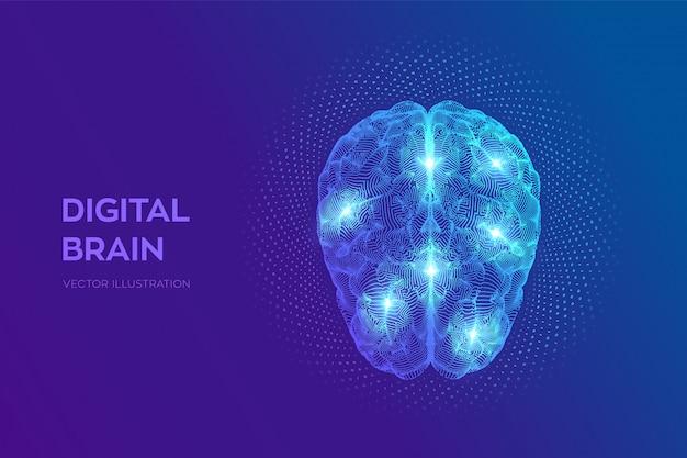 バイナリコードを持つデジタル脳。 3d科学技術コンセプト