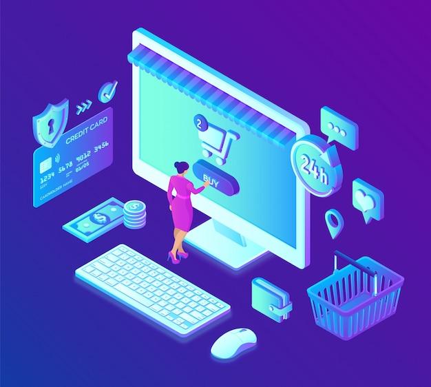 オンラインショッピング。 3dアイソメオンラインストア。ウェブサイトまたはモバイルアプリケーションでのオンラインショッピング。