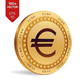 Евро монеты. изолированная физическая монетка 3d.