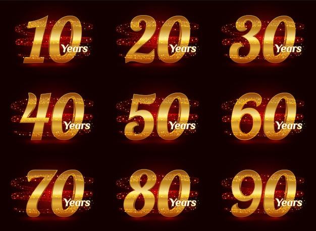 Золотые номера годовщины установлены. 3d празднование логотипа с золотой сверкающей спиральной звездной пылью след сверкающих частиц.