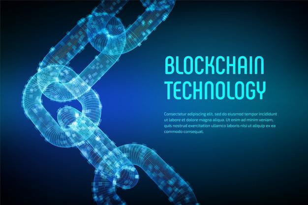 ブロックチェーン。暗号通貨。ブロックチェーンのコンセプト。デジタルブロックを備えた3dワイヤフレームチェーン。編集可能な暗号通貨テンプレート。株式ベクトル図