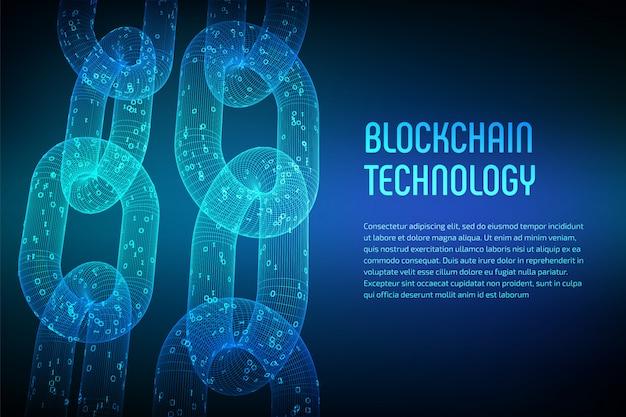 ブロックチェーン。暗号通貨。ブロックチェーンのコンセプト。デジタルコードを使用した3dワイヤフレームチェーン。編集可能な暗号通貨テンプレート。株式ベクトル図