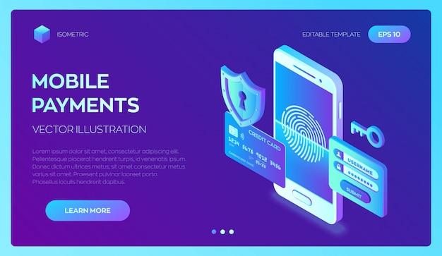 クレジットカードの小切手およびソフトウェアアクセスデータは機密として扱われます。モバイル決済。個人データ保護。 3dアイソメトリック。