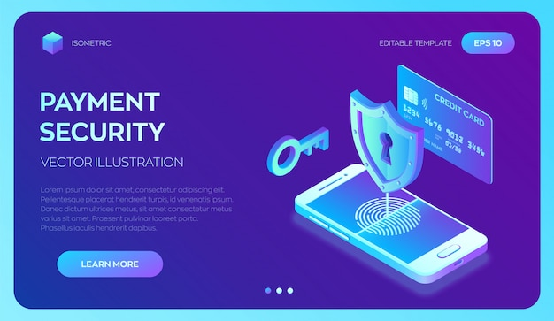 クレジットカードの小切手およびソフトウェアアクセスデータは機密として扱われます。安全な支払い。個人データ保護。 3dアイソメトリック。