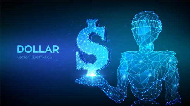 Доллар. знак доллара сша. абстрактные 3d низким полигональных робот, держа значок доллара.