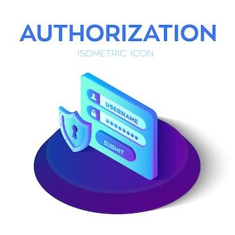 パスワードによる認証ログイン。セキュリティシールドアイコン。アクセスユーザーアカウントの3dアイソメアイコン。保護されたログインフォーム。