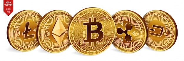 ビットコイン。リップル。イーサリアム。ダッシュ。ライトコイン。 3dの物理的な黄金のコイン。暗号通貨。
