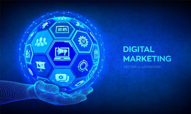 デジタルマーケティングの概念。ロボットハンドの六角形の表面を持つ3d球体またはグローブを抽象化します。