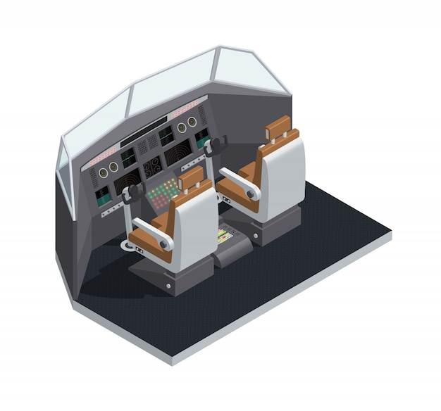 Цветной самолет интерьер изометрическая 3d изолированные композиции с кабиной вид сбоку векторная иллюстрация