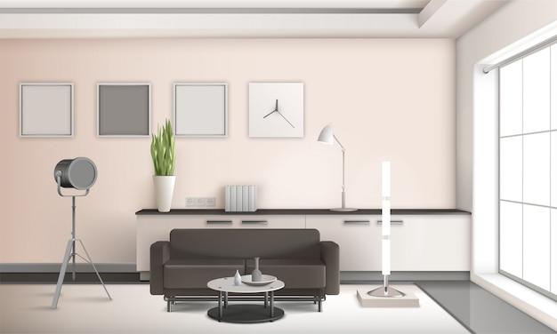 Реалистичный интерьер гостиной с 3d дизайном