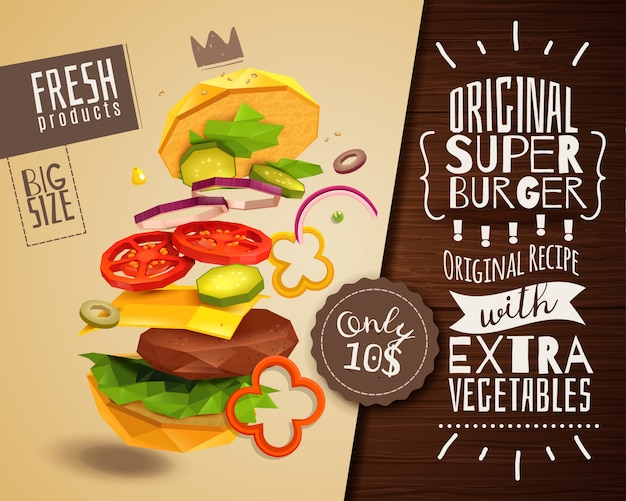 3d гамбургер горизонтальный плакат