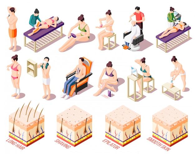 Способы удаления волос и люди, делающие эпиляцию в салоне и дома, устанавливают изометрические иконки на белом 3d