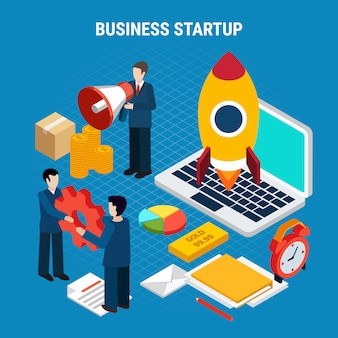 Цифровой маркетинг изометрии с инструментами запуска бизнеса на синем 3d иллюстрации