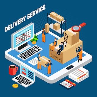 Работники службы доставки на синий 3d изометрической иллюстрации