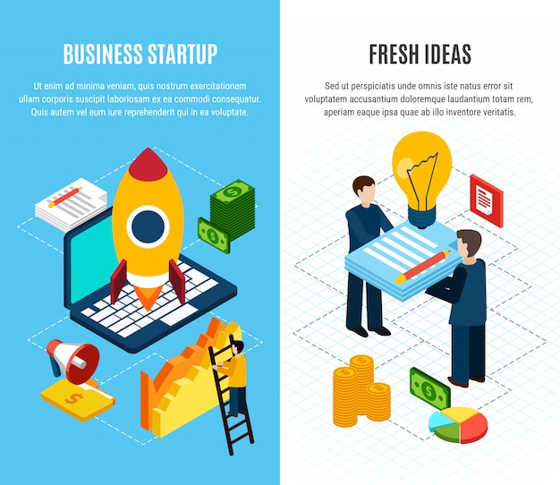 Набор из двух изометрических вертикальных цифровых маркетинговых баннеров с инструментами для запуска бизнеса, изолированных 3d