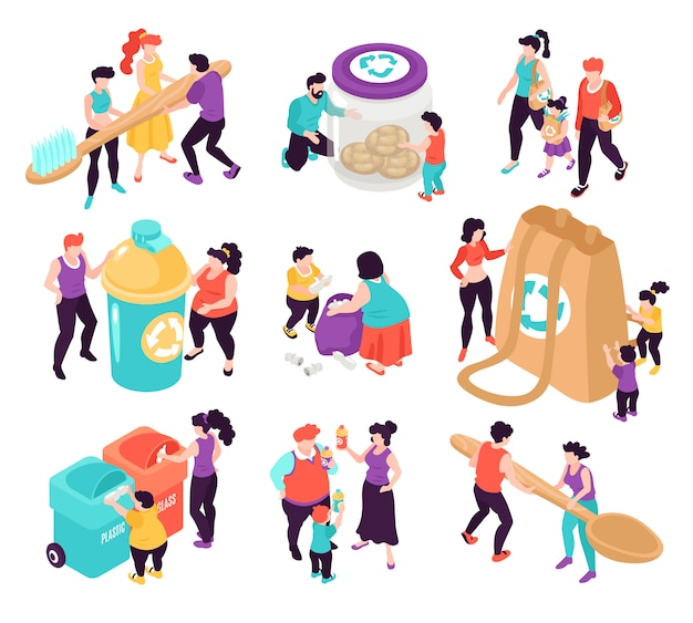 Установить ноль отходов красочные изометрические иконки с людьми, сортирующими мусор на белом фоне 3d иллюстрации