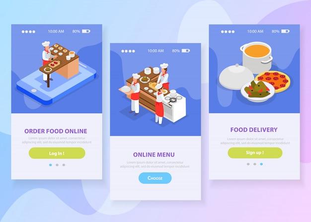 Онлайн доставка еды изометрической вертикальные баннеры с шеф-поварами, приготовление итальянских блюд 3d изолированных векторная иллюстрация