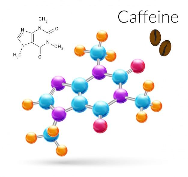 Молекула кофеина 3d