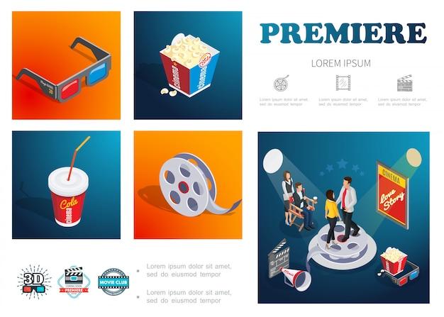 Изометрическая композиция из кинофильма с 3d-очками, попкорн, содовая, кинолента, кинорежиссер, актеры, мегафон, хлопушка, доска
