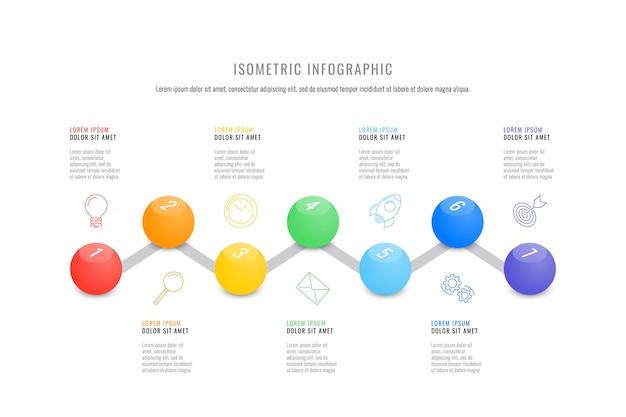Шаблон графика изометрической инфографики с реалистичными 3d круглых элементов