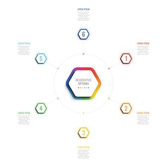 3d шаблон инфографики шесть шагов с гексагональной элементами. шаблон бизнес-процесса с параметрами для брошюры, схемы, рабочего процесса, графика, веб