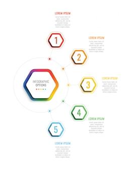 Пять шагов 3d инфографики шаблон с гексагональной элементами.