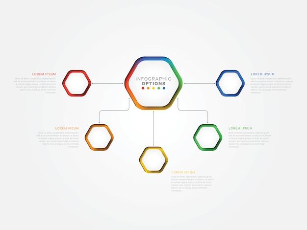 3d шаблон инфографики пять шагов с гексагональной элементами.
