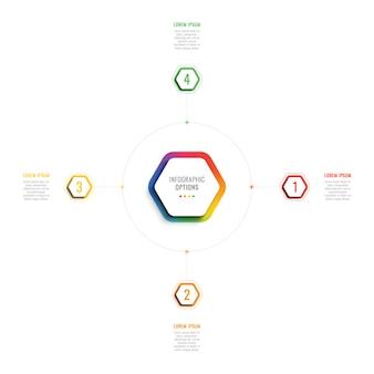 3d шаблон инфографики четыре шага с гексагональной элементами.