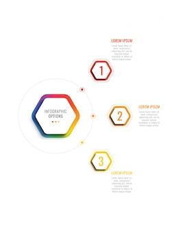Три шага 3d инфографики шаблон с гексагональной элементами.